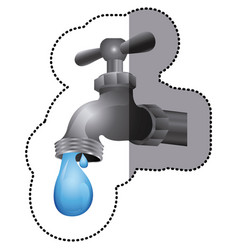silver faucet with water drop icon vector image