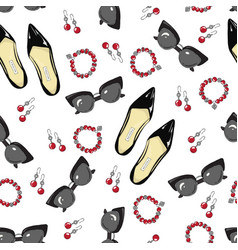 A pattern of women shoes and accessories on a vector