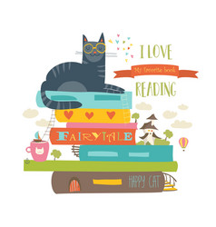 Fairytale concept with book and cat vector