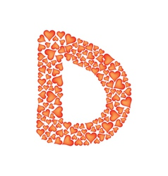 letter d made of valentines vector image