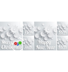 Winter holiday sales background with snowflakes vector image