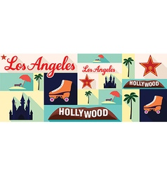Travel and tourism icons los angeles vector