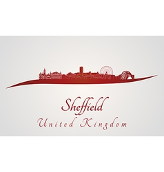 Sheffield skyline in red vector