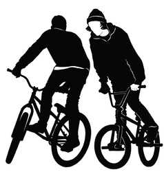 Teenagers riding a bmx bicycle vector