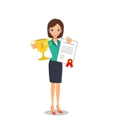 Business woman winner holding prize and vector