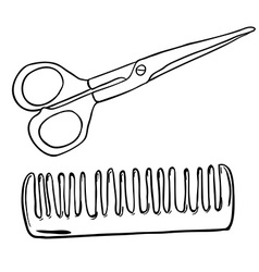 Simple black and white scissors and comb vector
