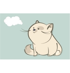 Fat white cat and abstract cloud vector