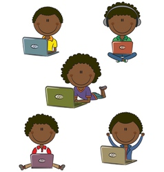 African-American boys with laptops vector image vector image