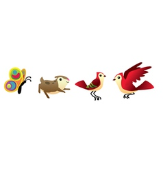 Bird hamster and butterfly isolated set vector