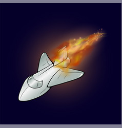 burning plane with fire flame vector image vector image