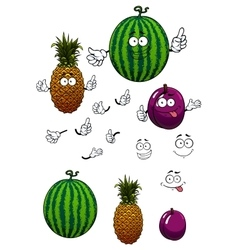 Cartoon watermelon pineapple and plum fruits vector