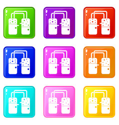 Containers connected with tubes icons 9 set vector
