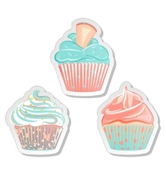 Cupcake stickers food labels set in pastel colors vector image vector image