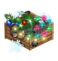 Decoration cristmas box with garland vector