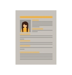 Document with woman curriculum vitae vector