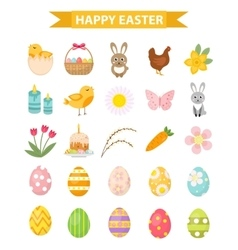 Easter icon set flat style Isolated on white vector image