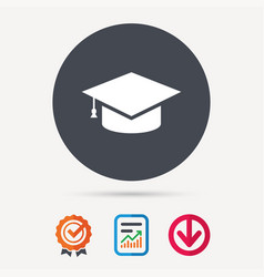 education icon graduation cap sign vector image