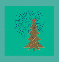 Flat shading style icon christmas tree vector