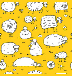 flock of sheeps seamless pattern for your design vector image
