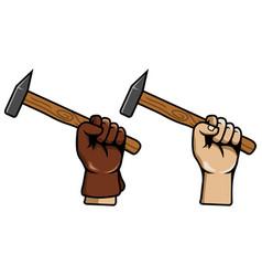 hand grab schlosser hammer vector image