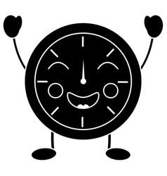 Happy clock kawaii icon image vector