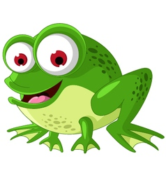 Happy green frog cartoon vector image