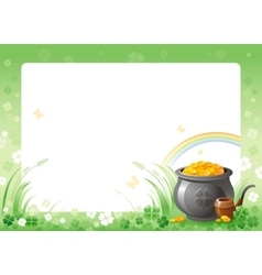 Happy saint patrick day pot of leprechaun gold vector