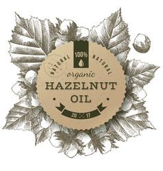 hazelnut oil label vector image vector image