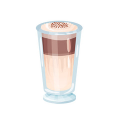 latte macchiato layered coffee glass cartoon vector image vector image