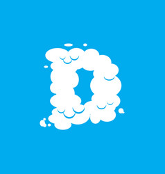 Letter d cloud font symbol white alphabet sign on vector