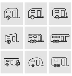 Line trailer icon set vector