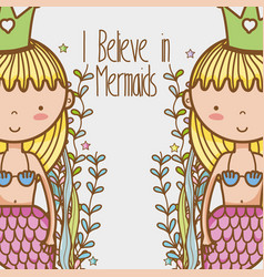little mermaids art cartoon vector image vector image