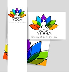 lotos yoga logo vector image