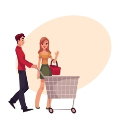 Man pushing shopping cart and woman holding basket vector image