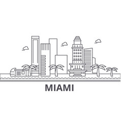 miami architecture line skyline vector image