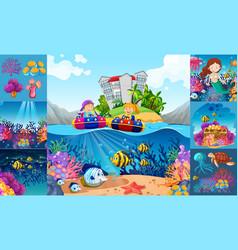Ocean scenes with children and sea animals vector