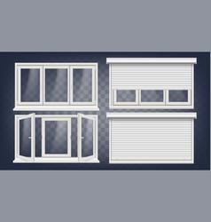 Plastic pvc window roller blind opened vector