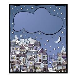 Postcard with cartoon winter construction town vector