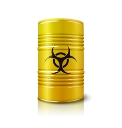 Realistic bright yellow big barrel with biohazard vector
