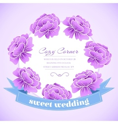 retro flower circle with ribbon concept vector image