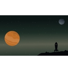 Rocket with planet on outer space landscape vector