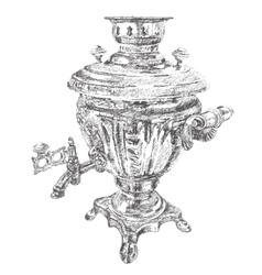 Russian samovar hand drawn dotted graphic vector image