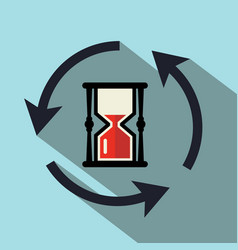 sand clock icon with circle arrows vector image