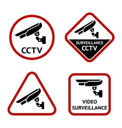 Security camera stickers vector image vector image