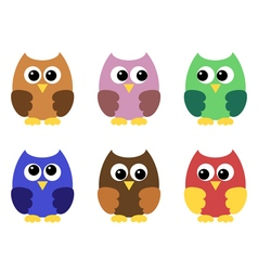 Set of six little owlets vector image