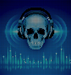 Skull in headphones LED disco background vector image vector image