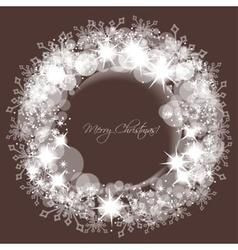 Sparkling lights and snowflakes Christmas round vector image