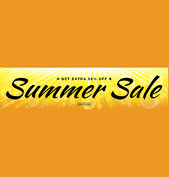 Summer sale template banner with sun rays vector