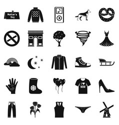 Walking clothes icons set simple style vector