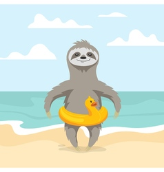 Happy cute sloth on the beach summer vacation vector